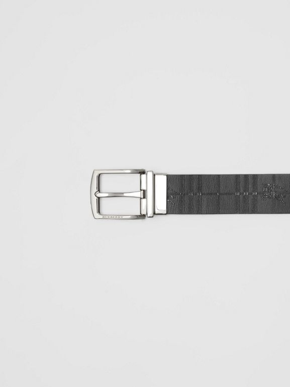 Reversible EKD Check Leather Belt in Black - Men | Burberry United Kingdom - cell image 1