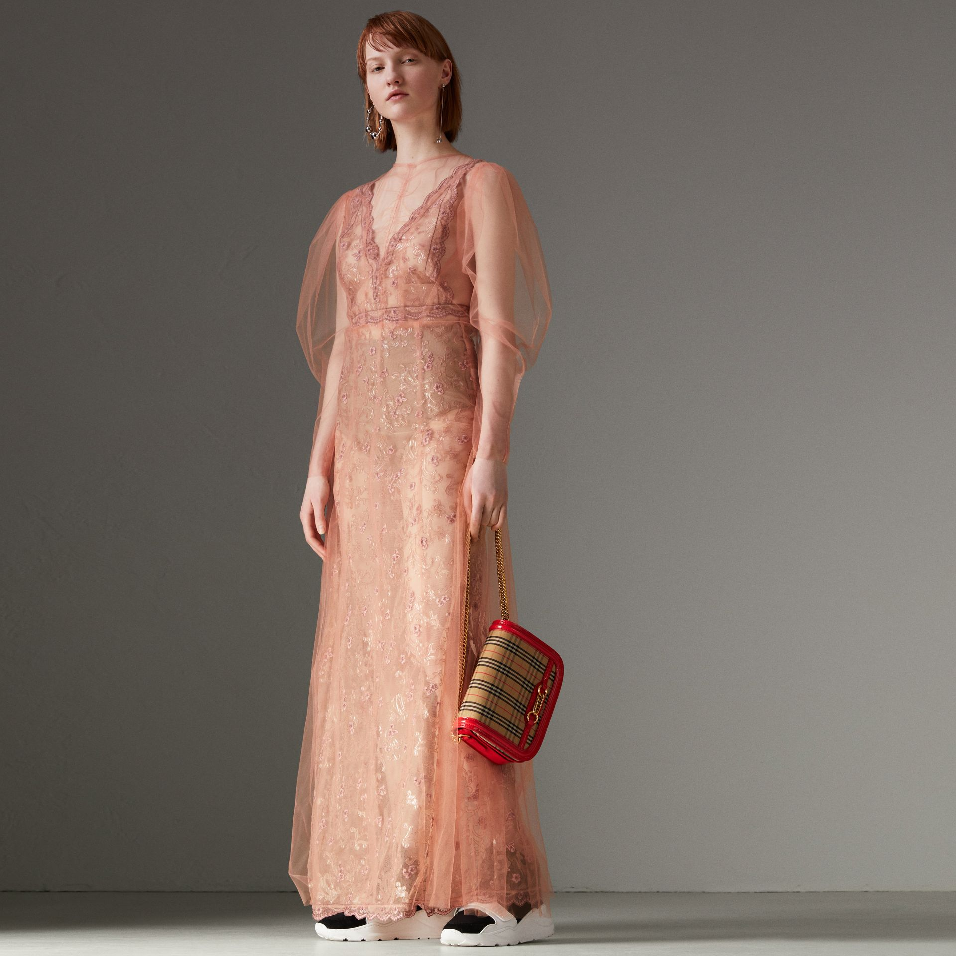 Floral-embroidered Puff-sleeve Dress in Dusty Pink - Women | Burberry United States - gallery image 0