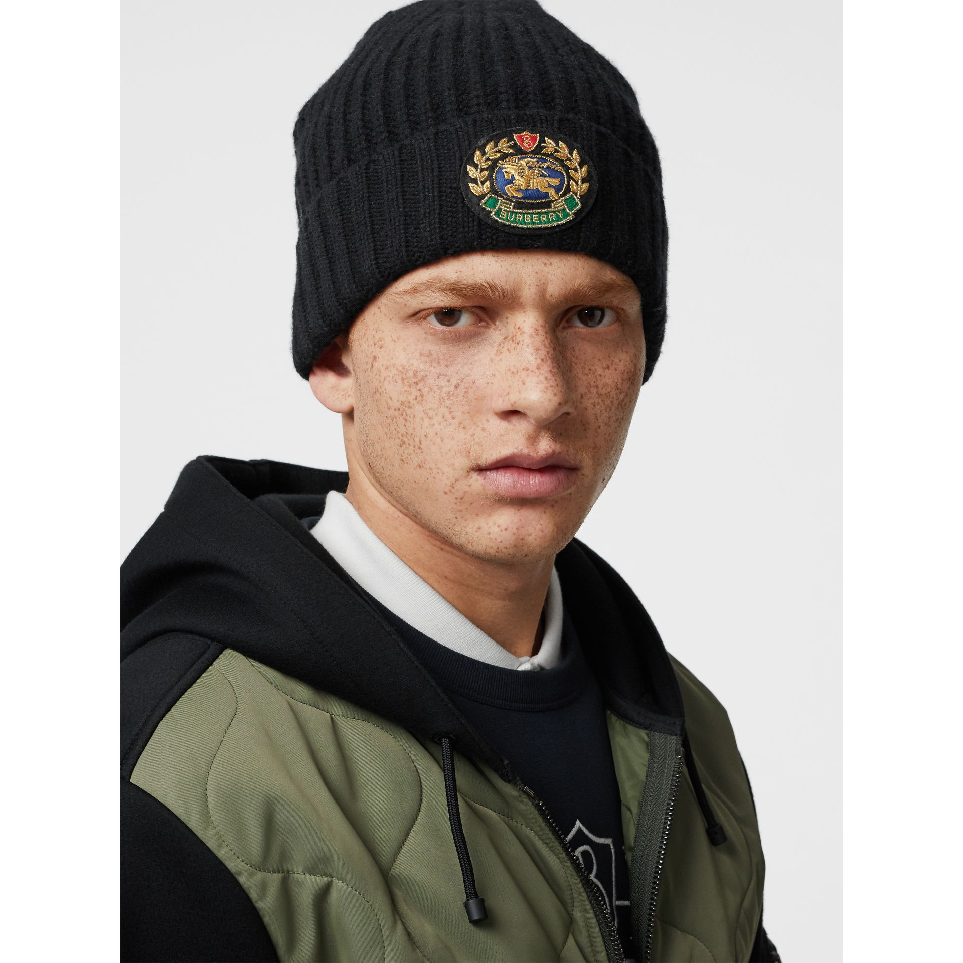 Embroidered Crest Rib Knit Wool Cashmere Beanie in Black | Burberry Australia - gallery image 3
