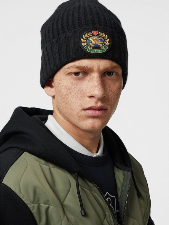Embroidered Crest Rib Knit Wool Cashmere Beanie in Black