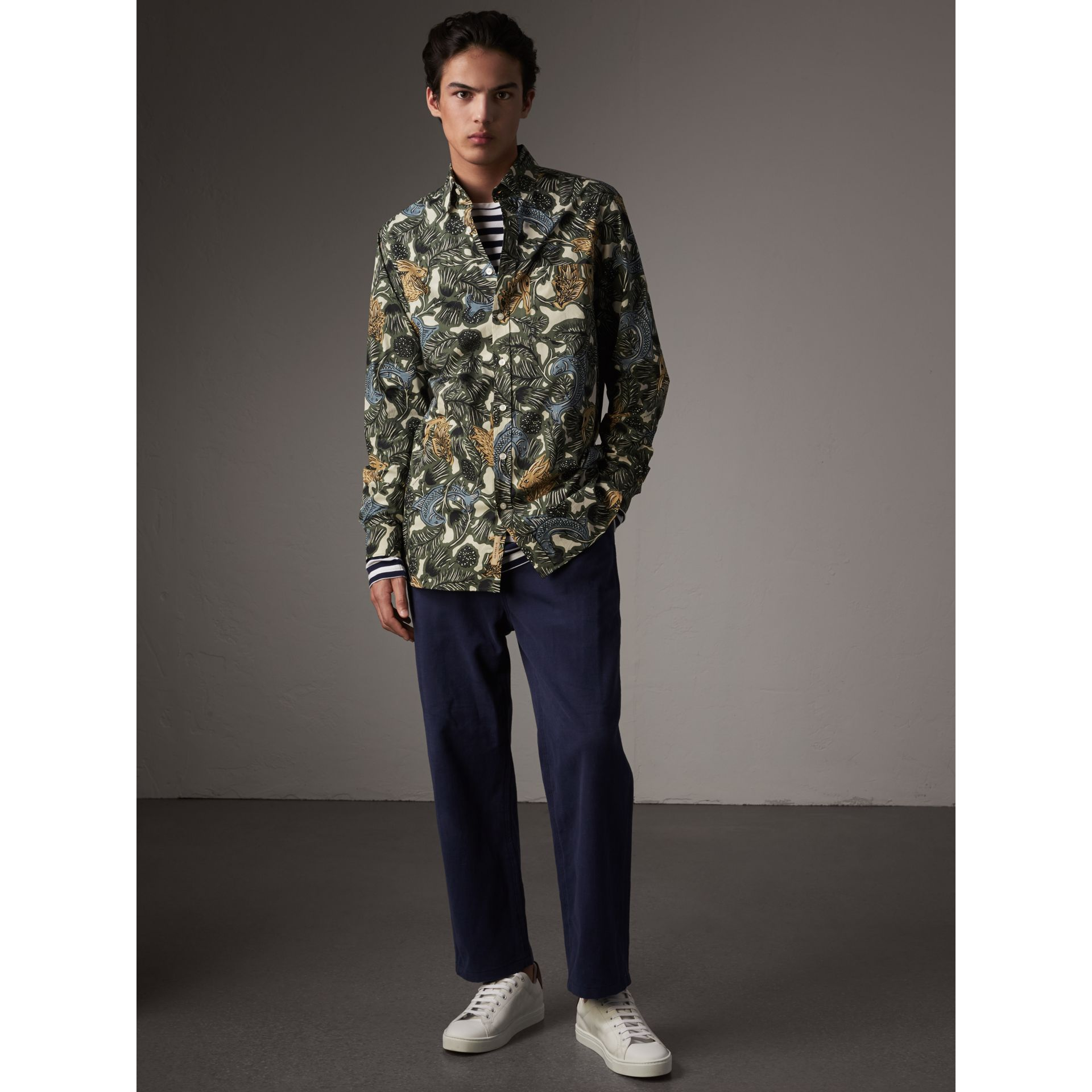 Beasts Print Cotton Poplin Longline Shirt in Sage Green - Men | Burberry - gallery image 1