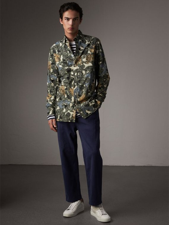 Beasts Print Cotton Poplin Longline Shirt in Sage Green - Men | Burberry