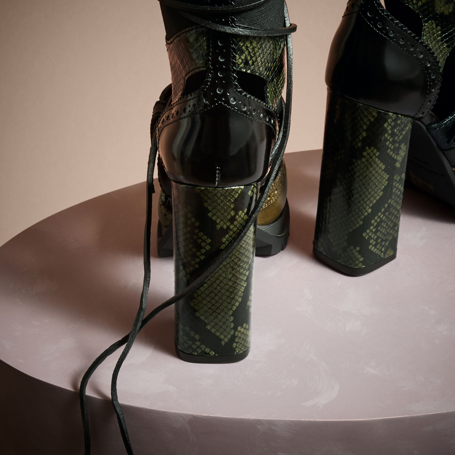 Military olive Leather and Snakeskin Cut-out Platform Boots Military Olive - gallery image 4