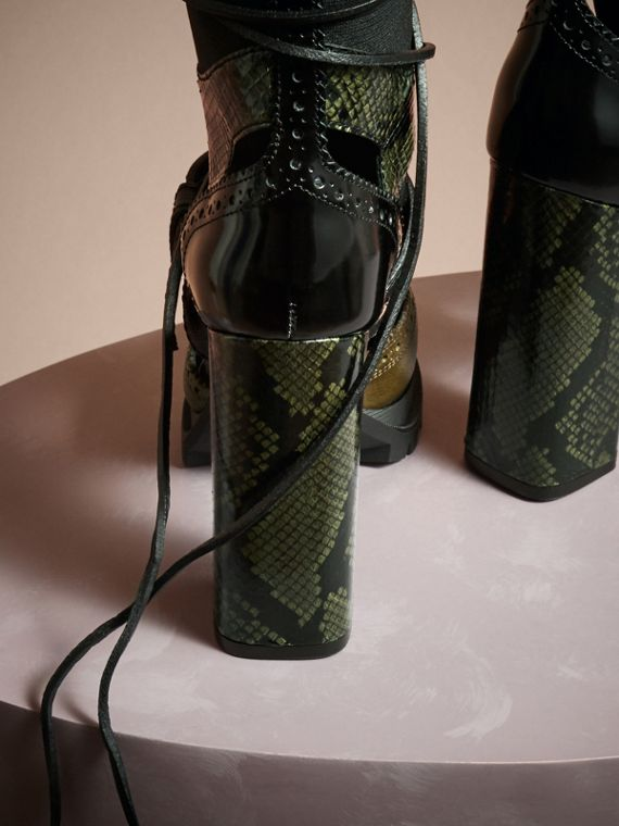 Military olive Leather and Snakeskin Cut-out Platform Boots Military Olive - cell image 3
