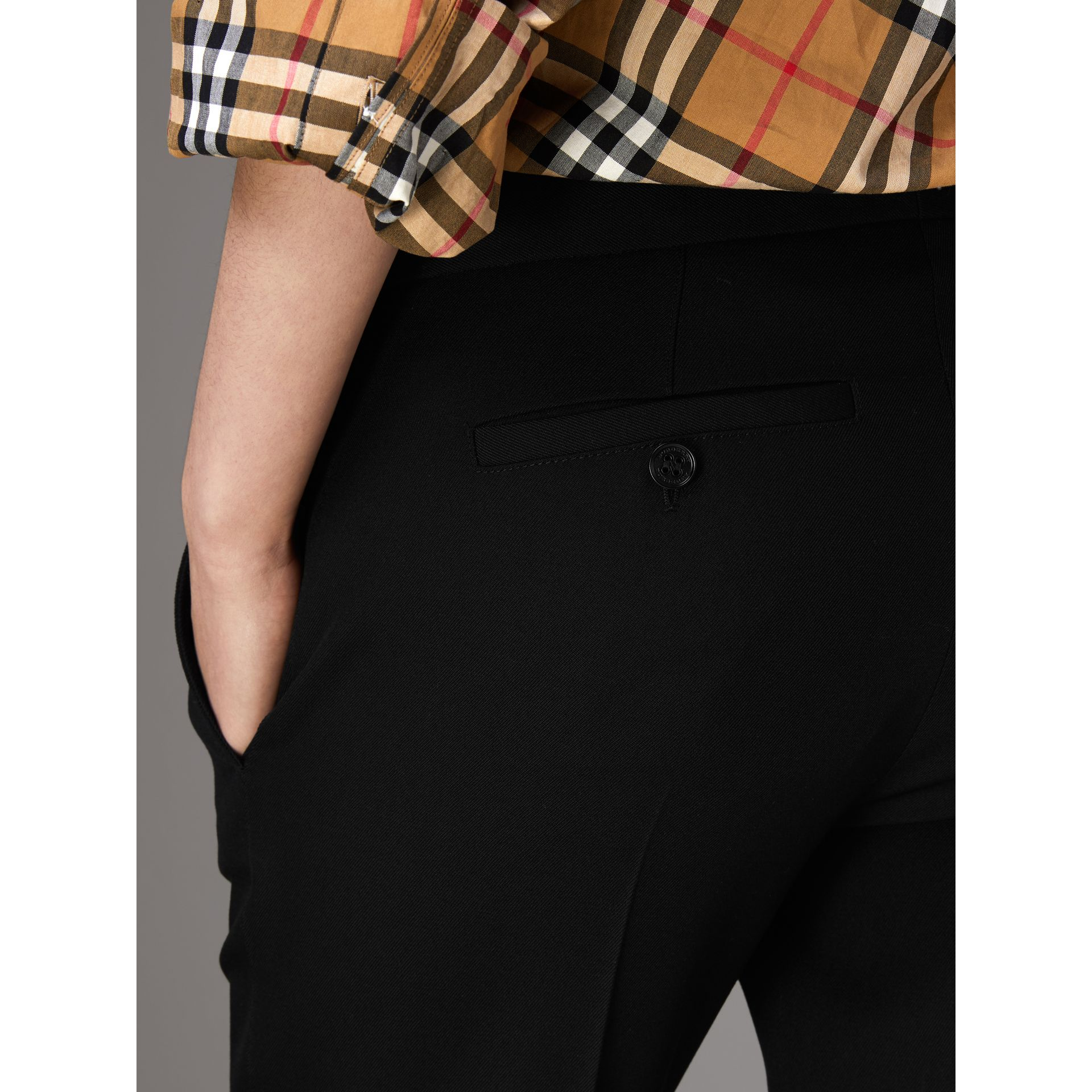 Straight-fit Wool Tailored Trousers in Black - Women | Burberry - gallery image 1
