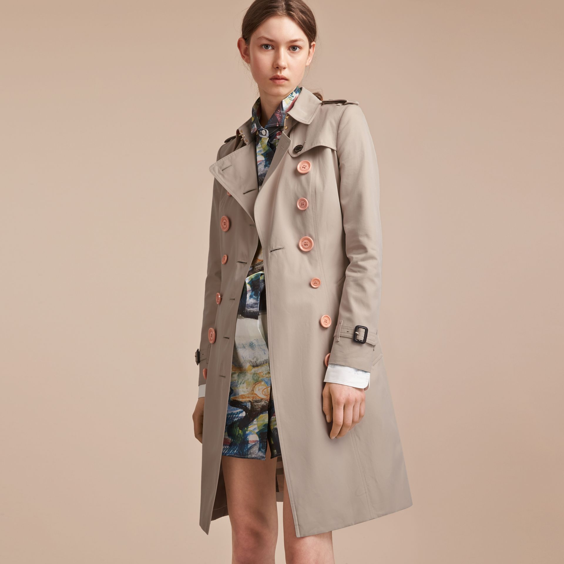 Resin Button Cotton Gabardine Trench Coat - gallery image 7