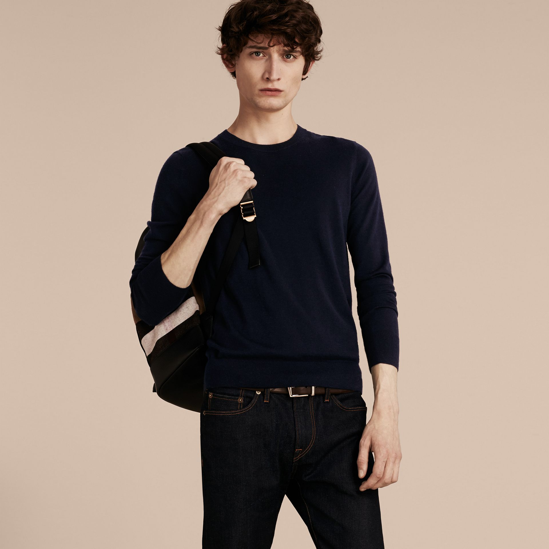 Lightweight Crew Neck Cashmere Sweater with Check Trim in Navy - Men | Burberry - gallery image 5