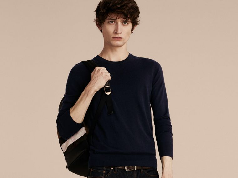 Lightweight Crew Neck Cashmere Sweater with Check Trim in Navy - Men | Burberry - cell image 4