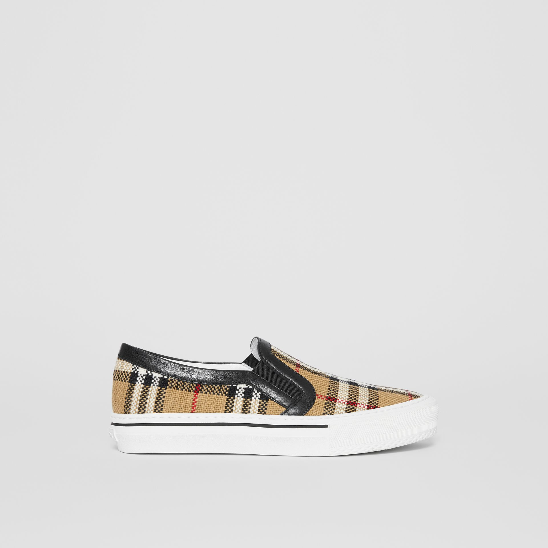 Vintage Check and Leather Slip-on Sneakers in Archive Beige - Women | Burberry Canada - gallery image 5