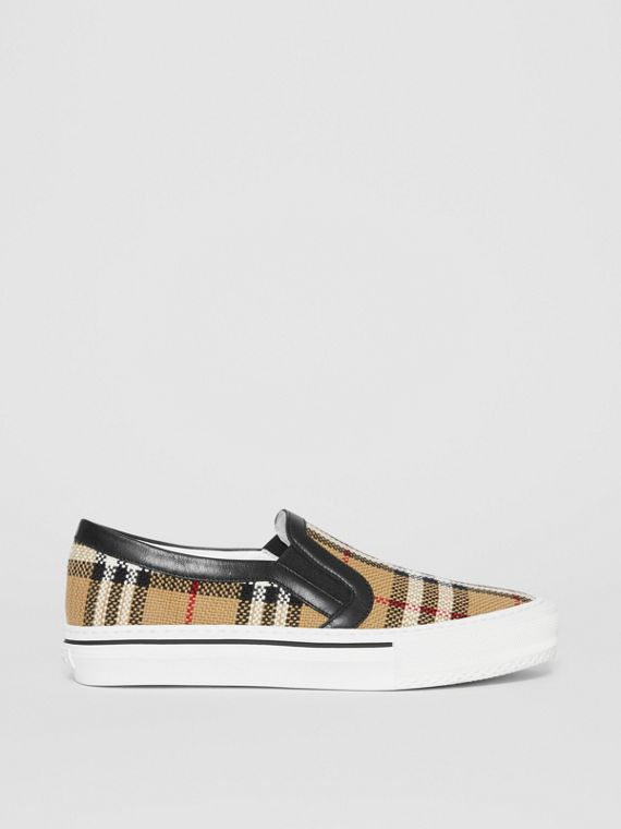Vintage Check and Leather Slip-on Sneakers in Archive Beige