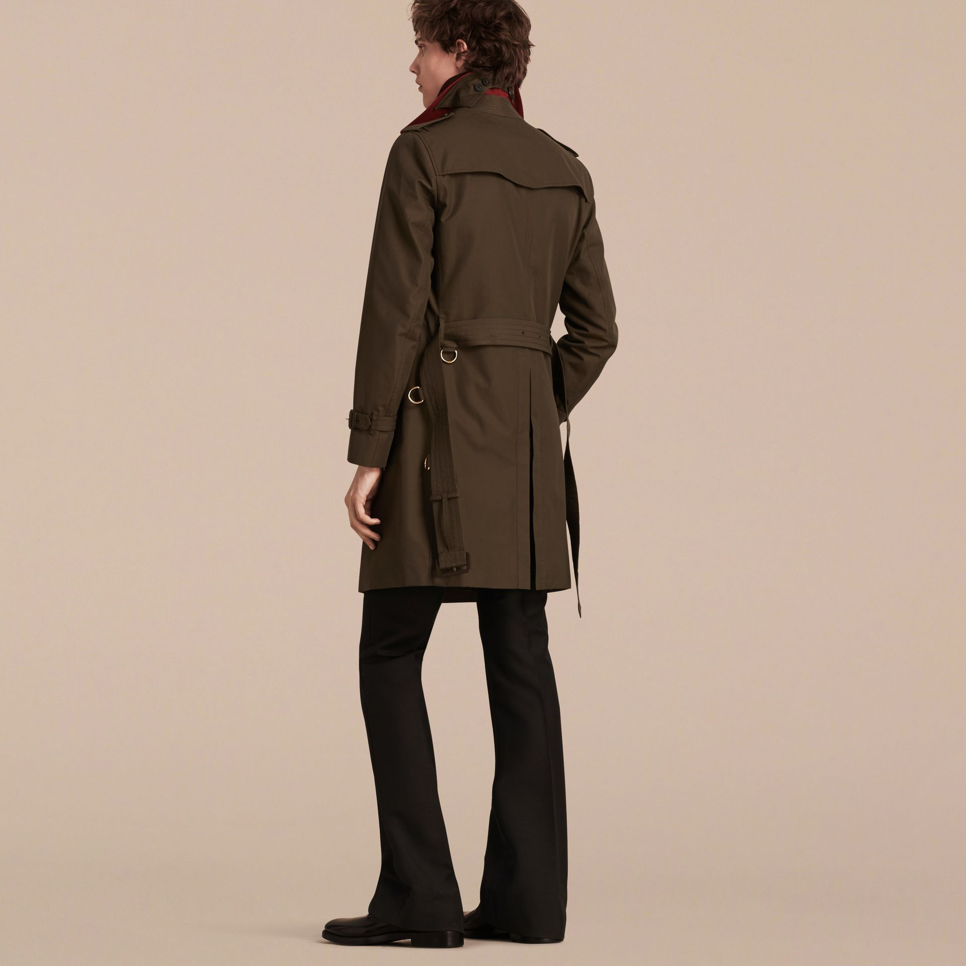 Dark khaki green Military Detail Cotton Trench Coat - gallery image 3