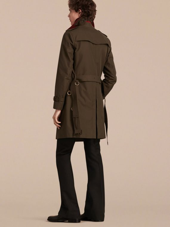 Dark khaki green Military Detail Cotton Trench Coat - cell image 2