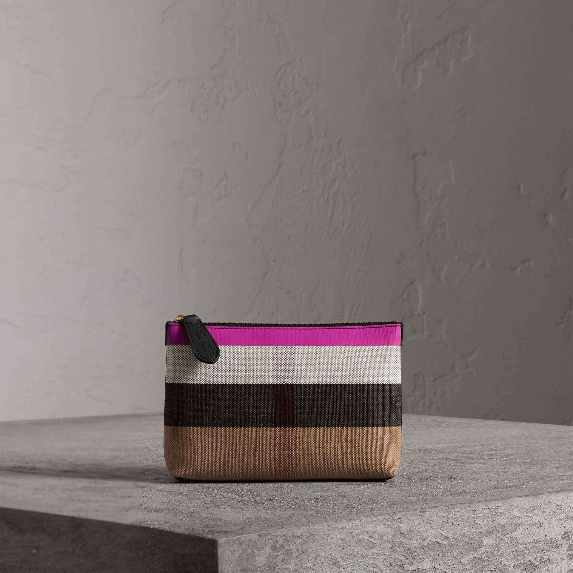 Medium Check Canvas and Leather Zip Pouch in Black/neon Pink - Women | Burberry Singapore - gallery image 0