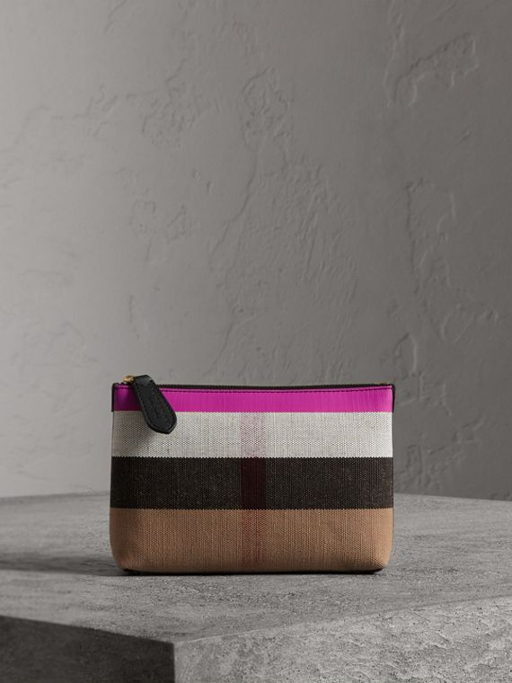 Medium Check Canvas and Leather Zip Pouch in Black/neon Pink