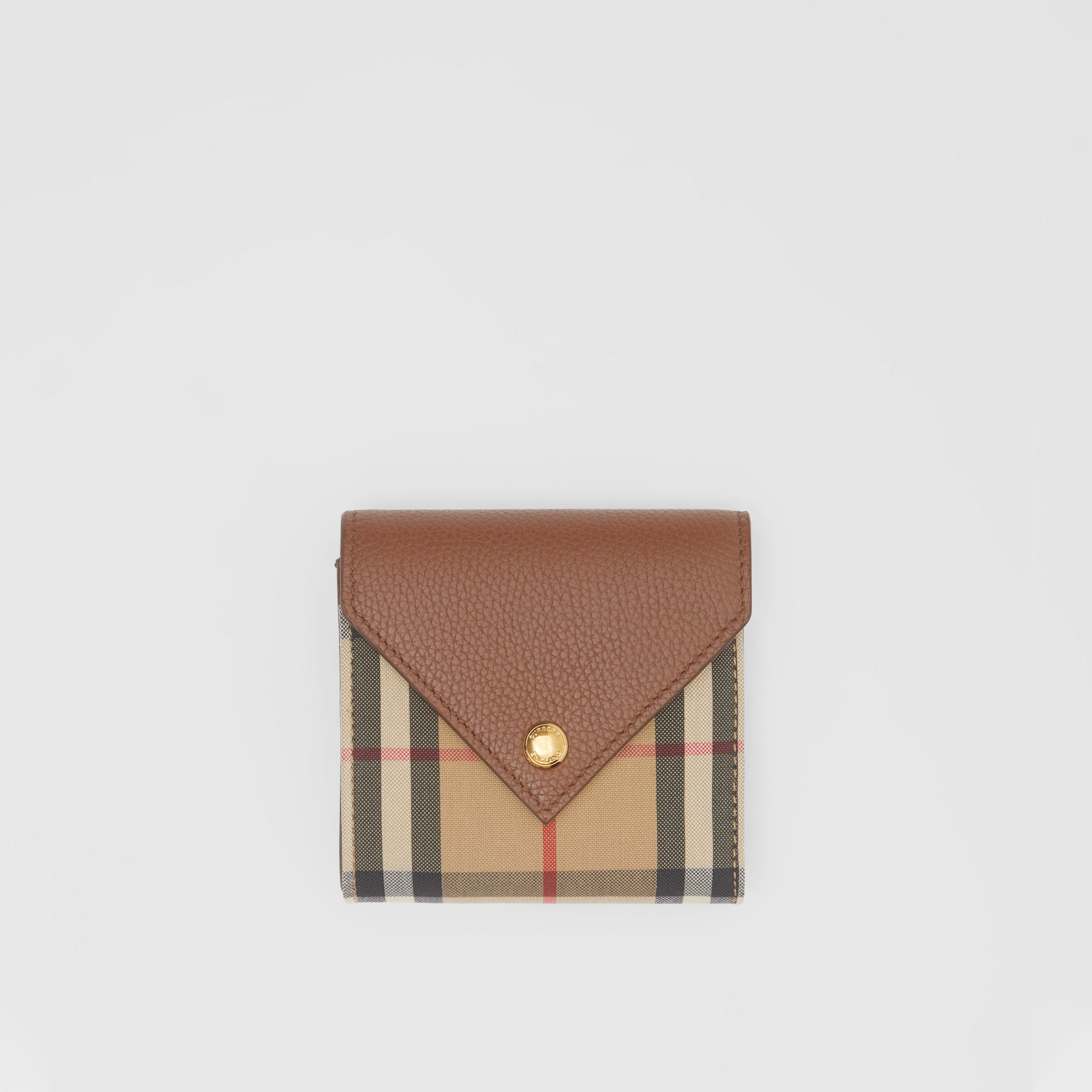 Vintage Check and Grainy Leather Folding Wallet in Tan - Women | Burberry Hong Kong S.A.R. - 1
