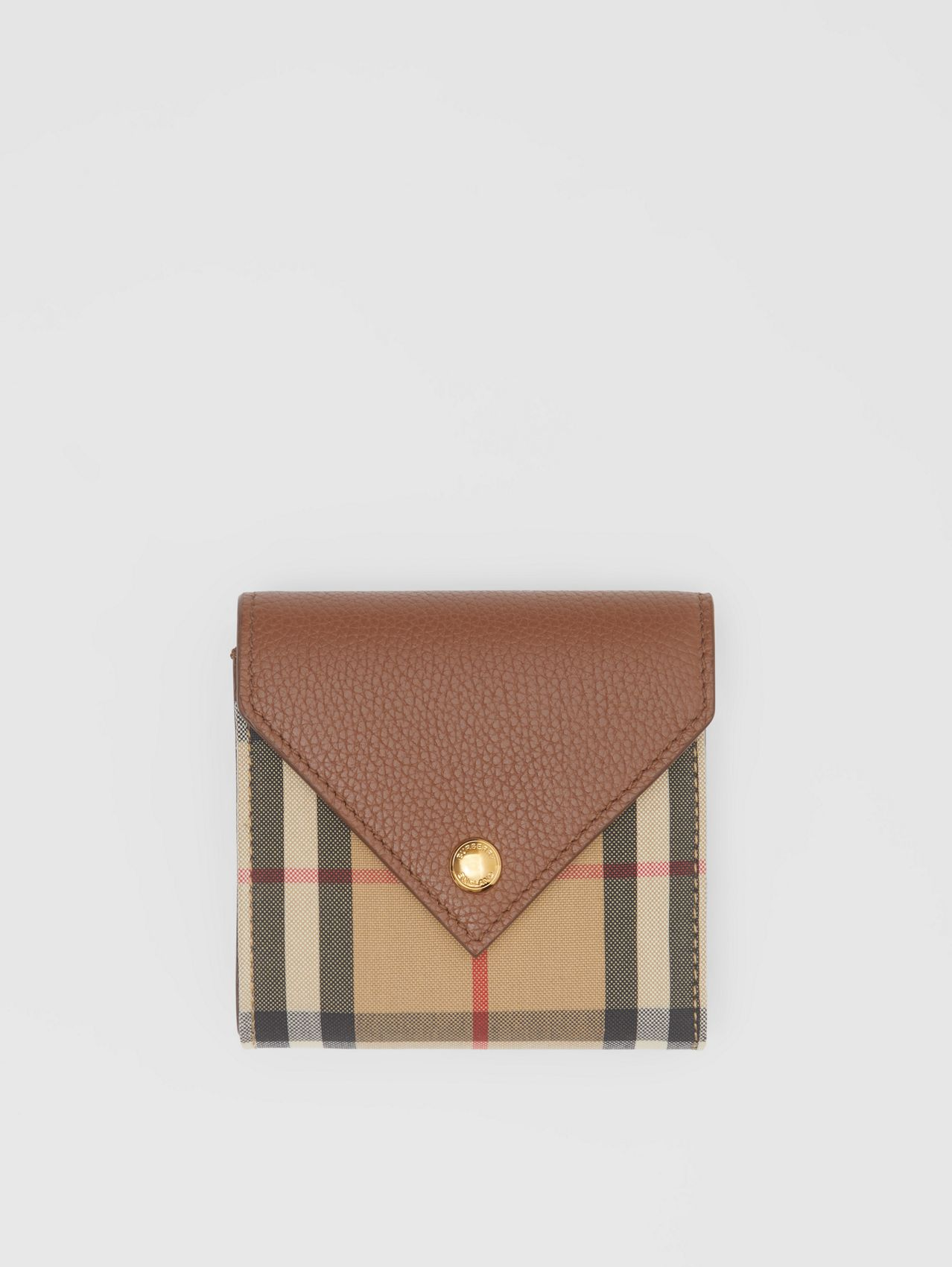 Vintage Check and Grainy Leather Folding Wallet in Tan