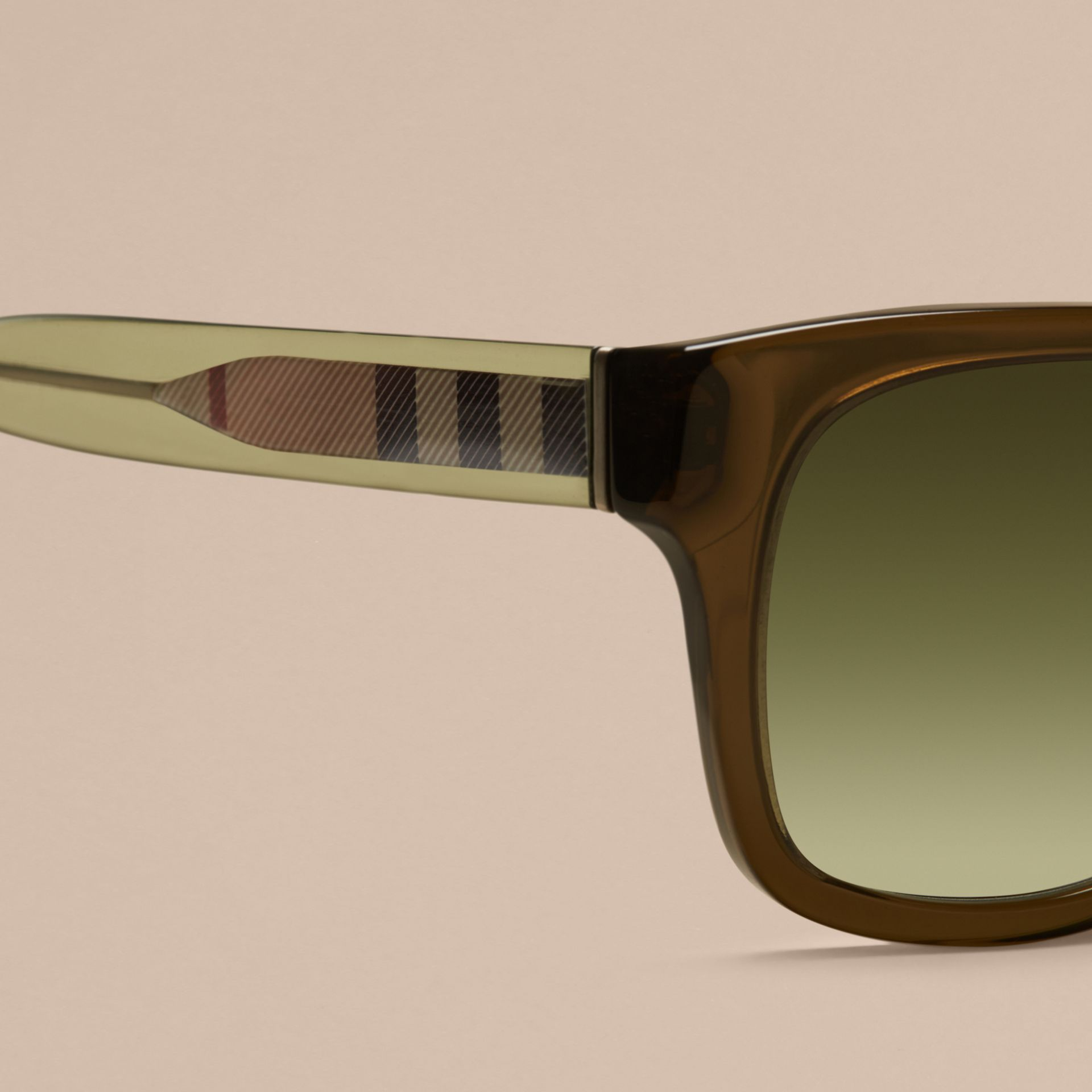 Olive Check Detail Square Frame Sunglasses Olive - gallery image 2