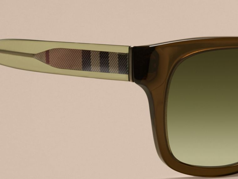 Olive Check Detail Square Frame Sunglasses Olive - cell image 1