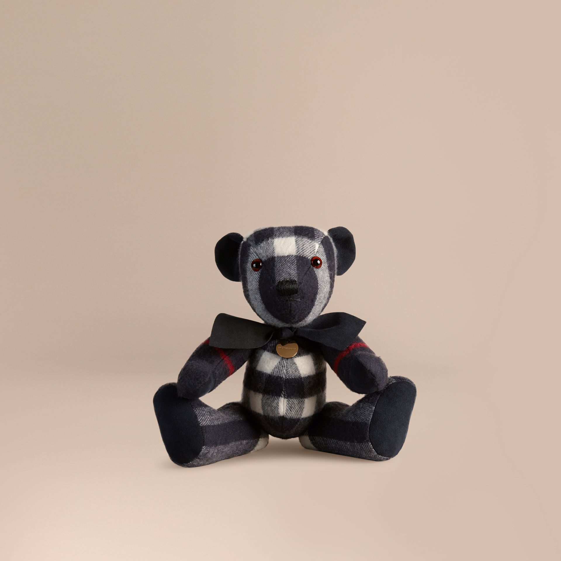 Teddy-bear en cachemire à motif check (Marine) | Burberry - photo de la galerie 1