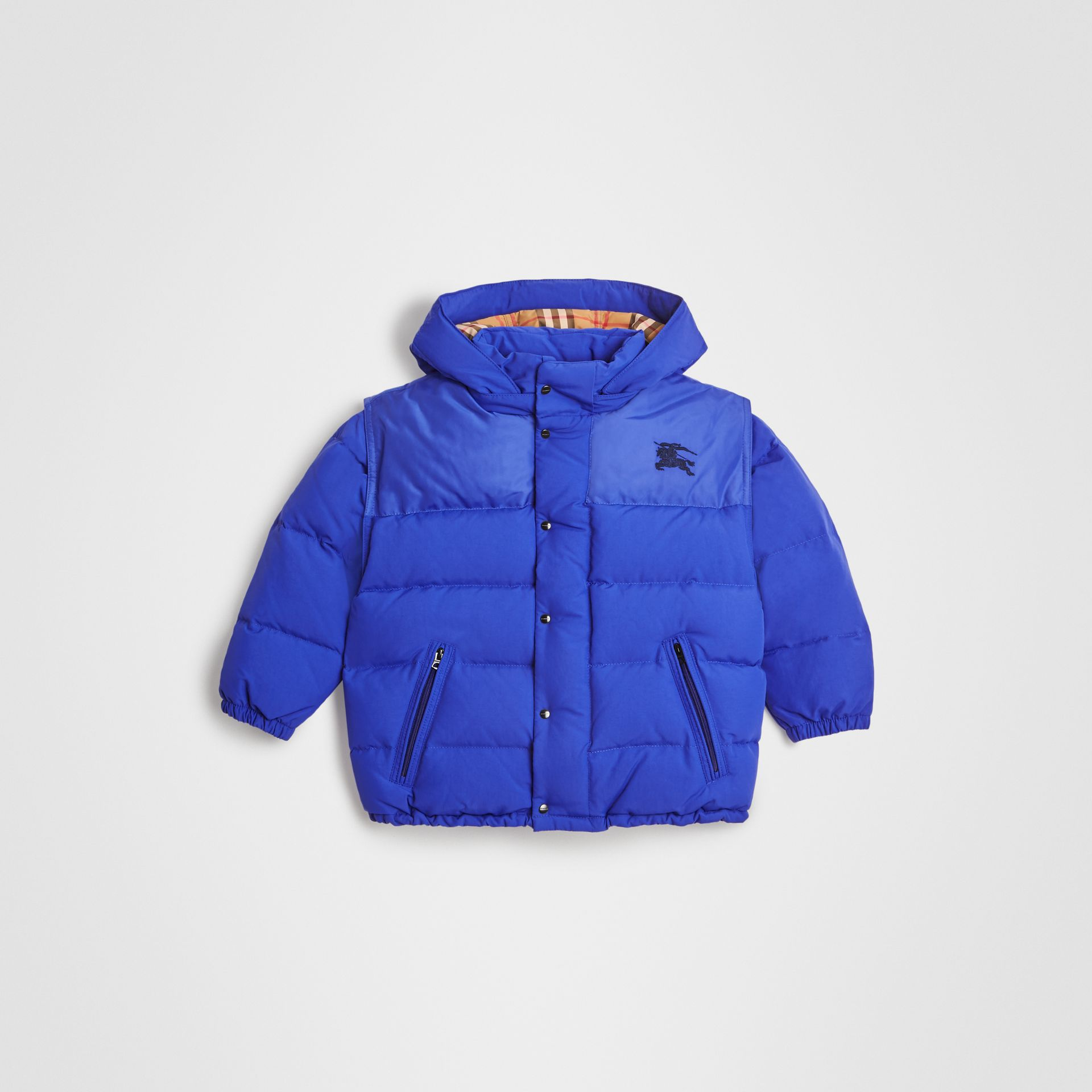 Detachable Hood Down-filled Puffer Jacket in Royal Blue | Burberry United States - gallery image 0