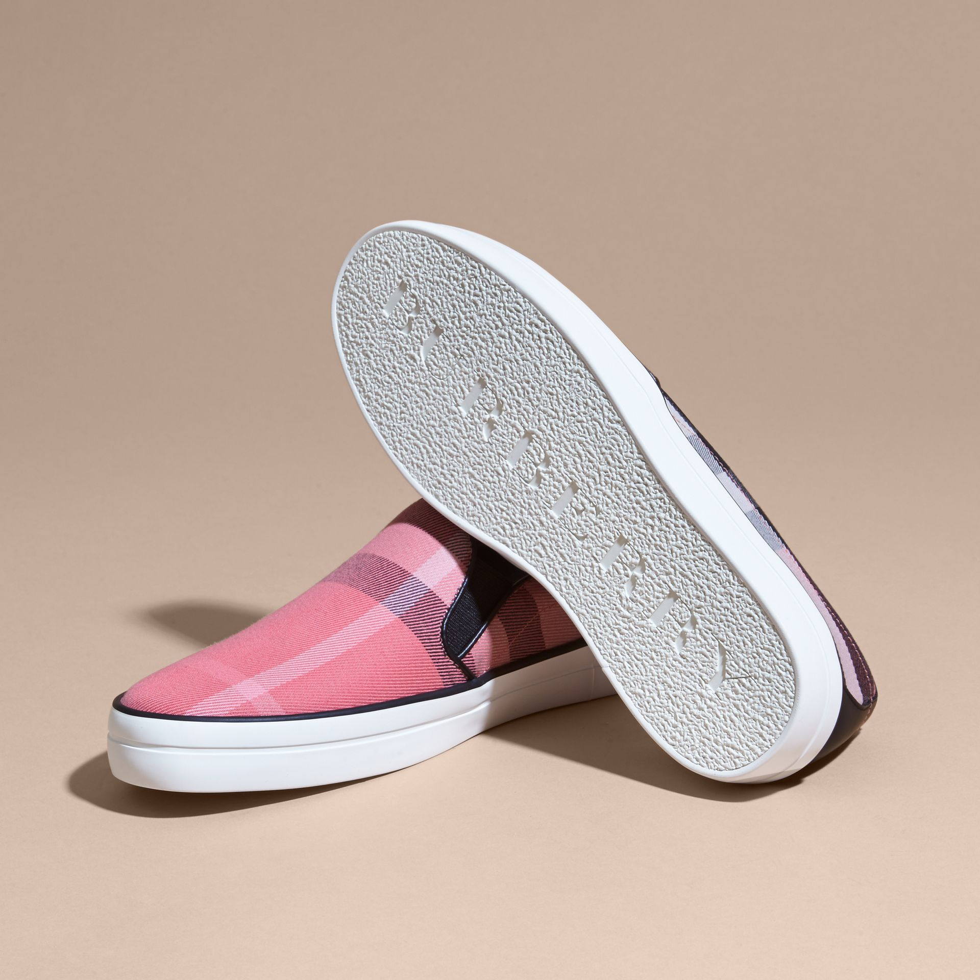 Overdyed House Check Cotton Slip-on Trainers Rose Pink - gallery image 5