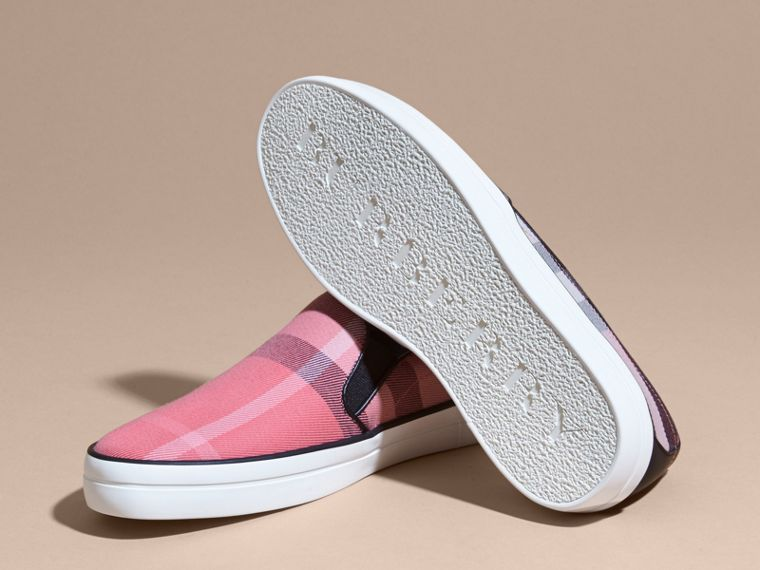 Overdyed House Check Cotton Slip-on Trainers Rose Pink - cell image 4