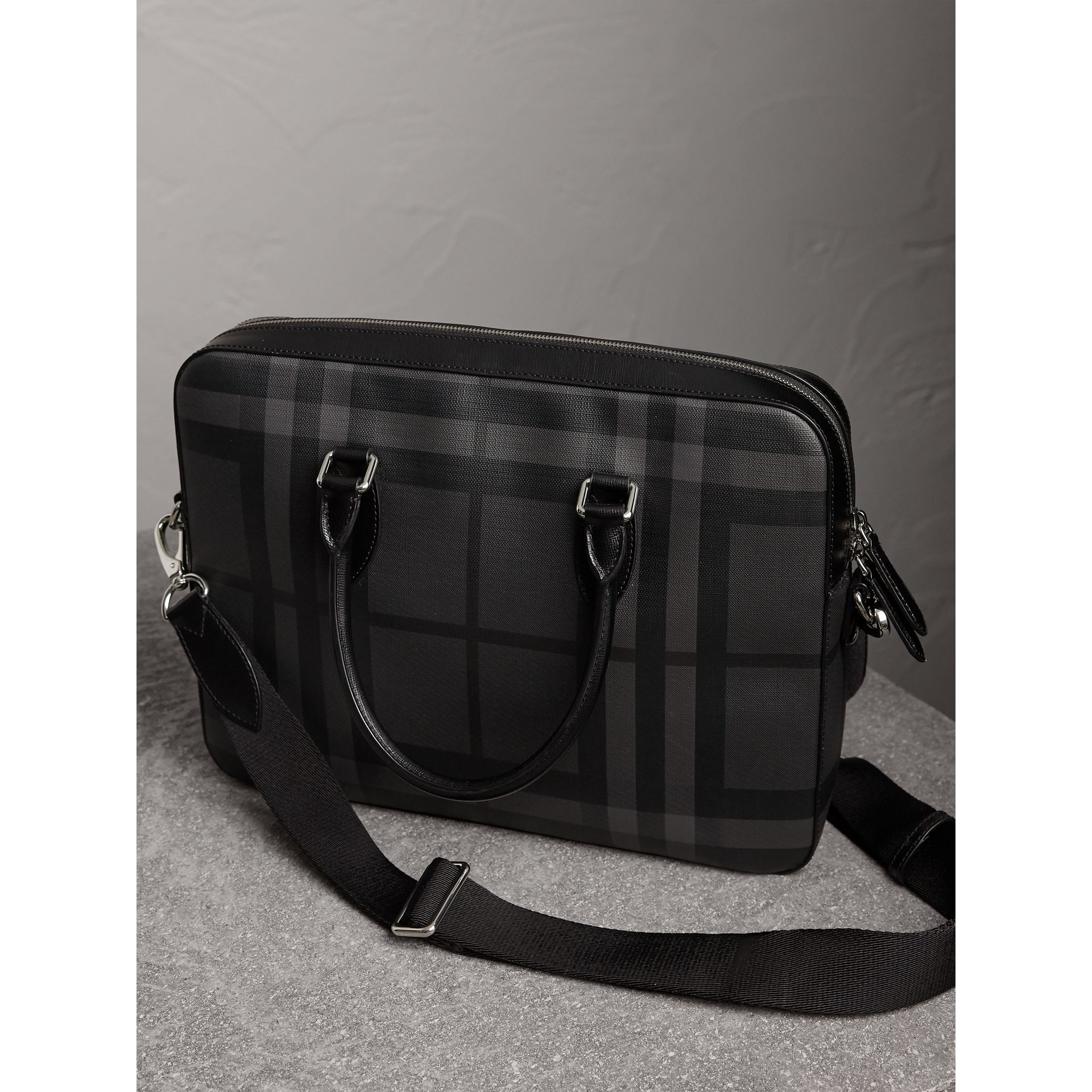 Medium Leather Trim London Check Briefcase in Charcoal/black - Men | Burberry United Kingdom - gallery image 4
