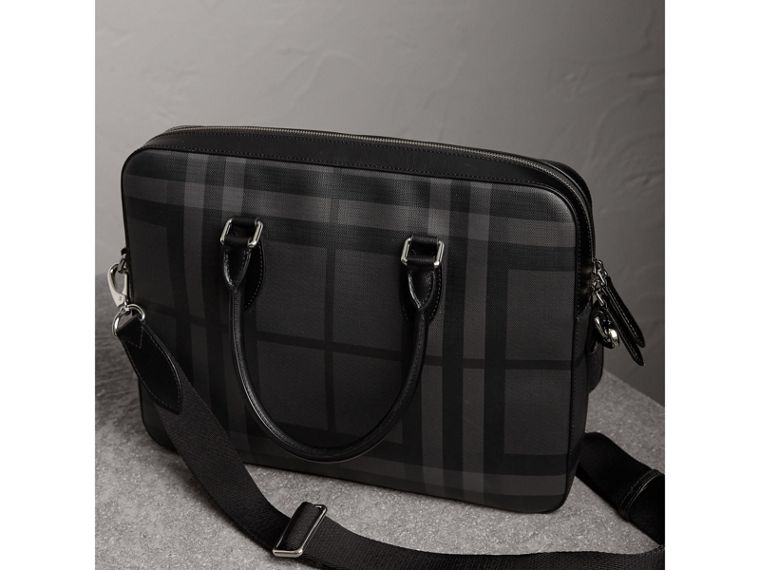 Medium Leather Trim London Check Briefcase in Charcoal/black - Men | Burberry - cell image 4