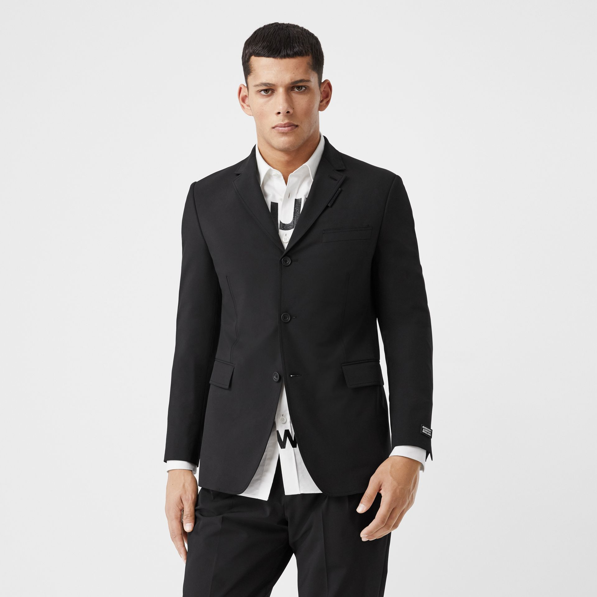 Slim Fit Technical Nylon Tailored Jacket in Black - Men | Burberry Australia - gallery image 0