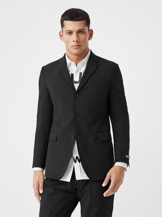 Slim Fit Technical Nylon Tailored Jacket in Black