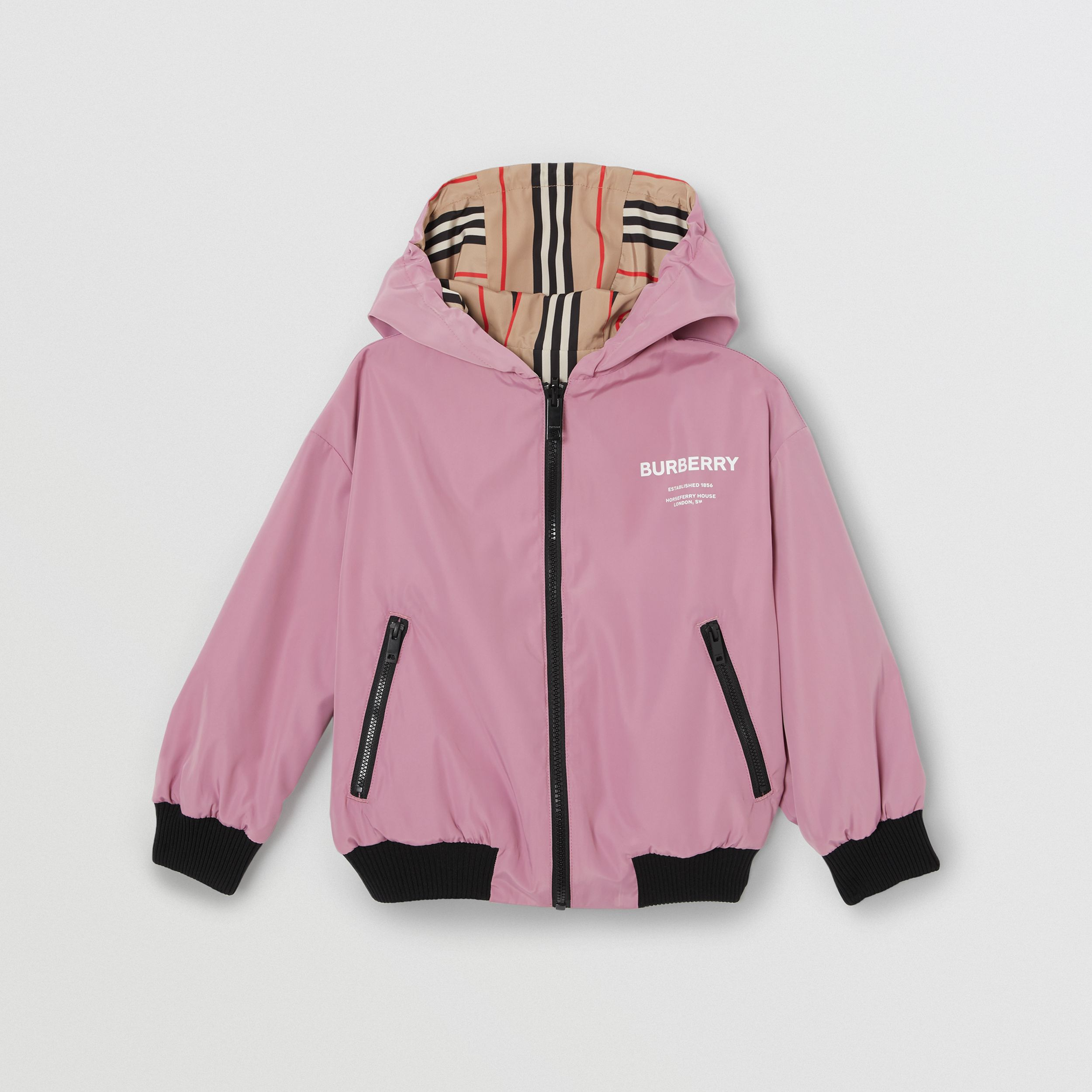 Reversible Icon Stripe Hooded Jacket in Pale Mauve | Burberry - 1