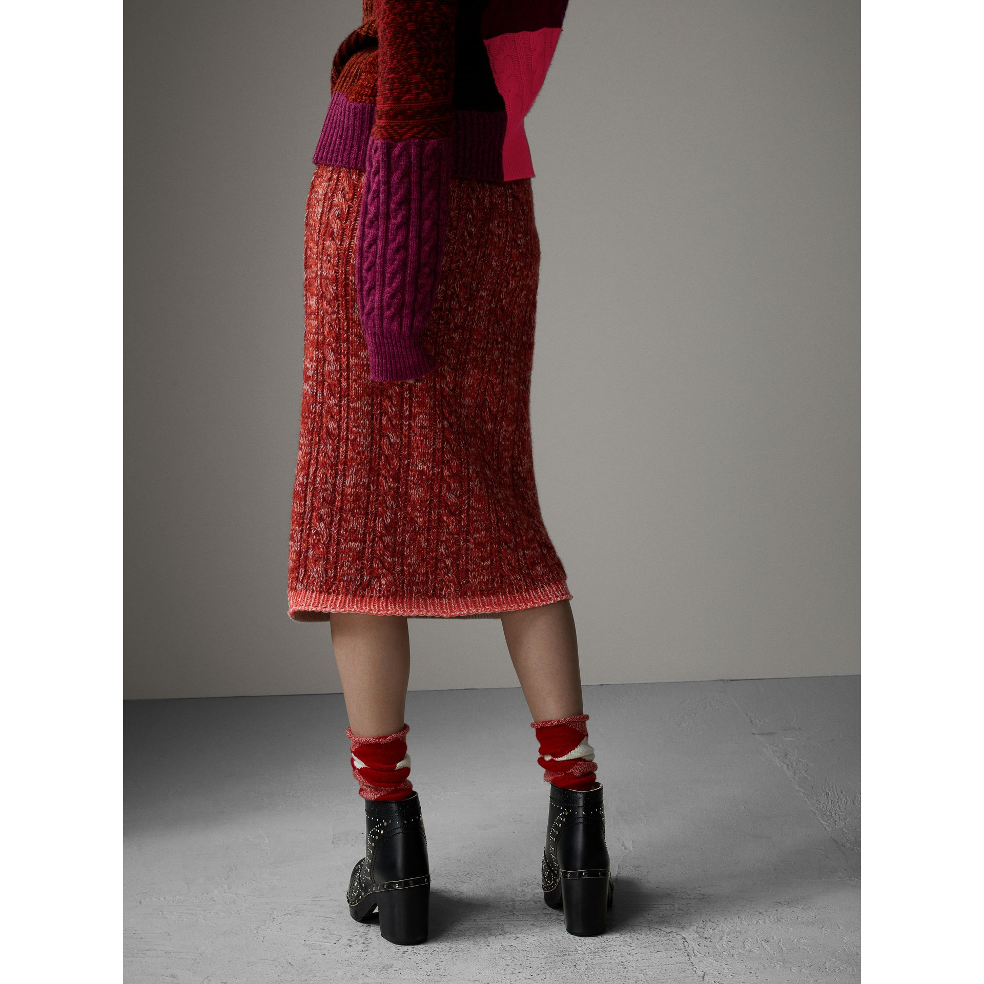 Fair Isle and Cable Knit Wool Cashmere Blend Skirt in Multicolour - Women | Burberry - gallery image 3