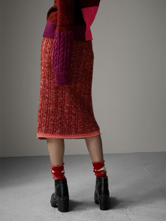Fair Isle and Cable Knit Wool Cashmere Blend Skirt in Multicolour - Women | Burberry Canada - cell image 2