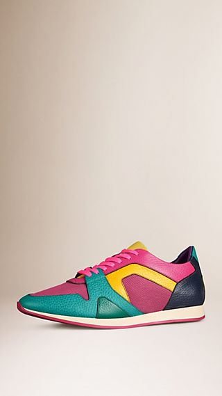 The Field Sneaker in Colour Block Leather and Mesh Dark Topaz Blue/pink