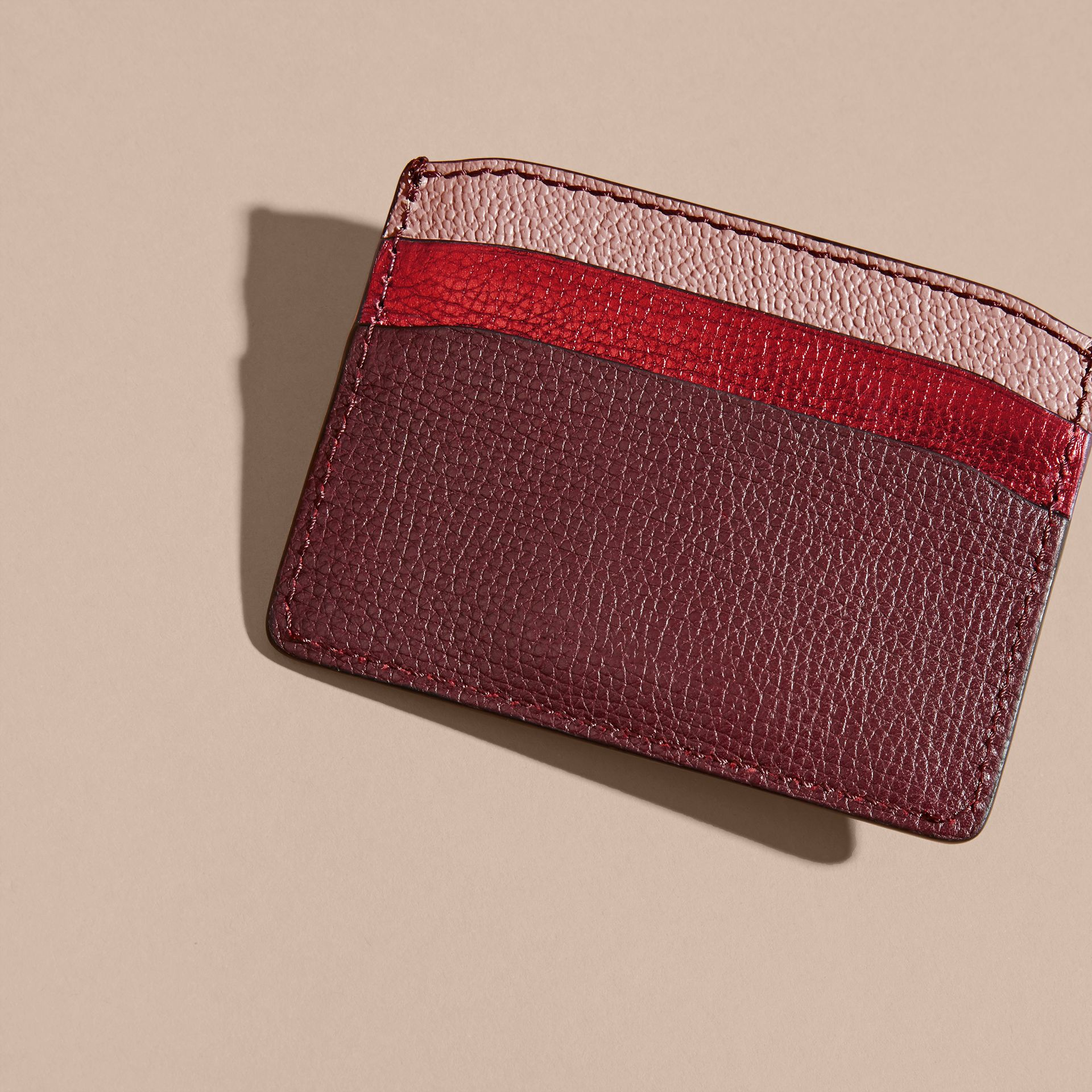 Colour Block Leather Card Case in Mahogany Red - gallery image 4