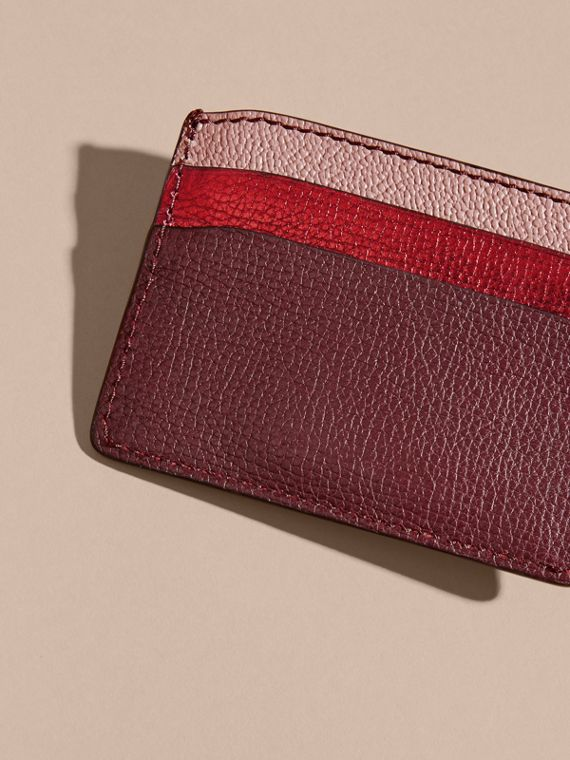 Colour Block Leather Card Case in Mahogany Red - cell image 3