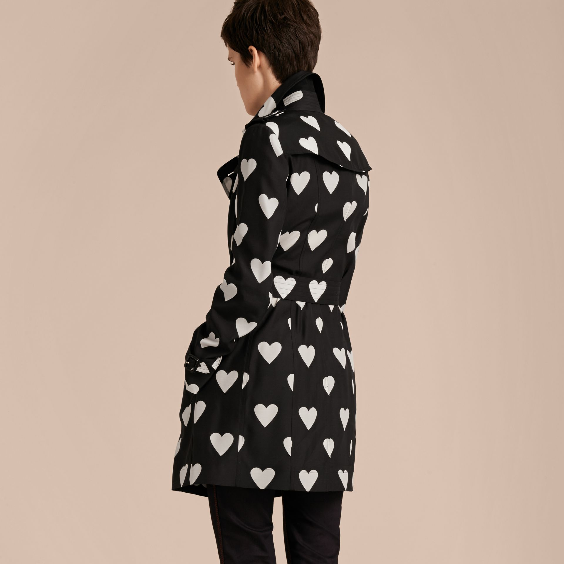 Black / white Lightweight Heart Print Silk Wool Trench Coat - gallery image 3