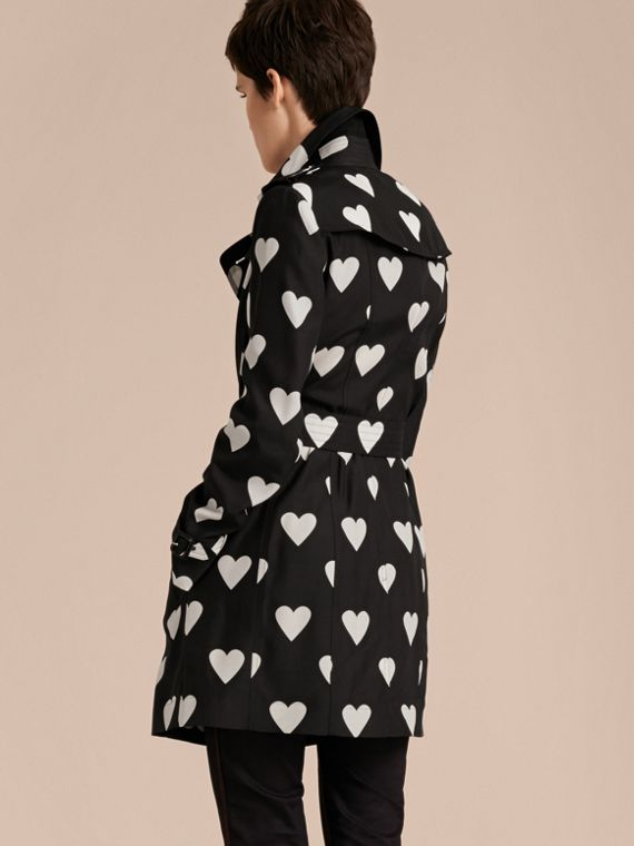 Black / white Lightweight Heart Print Silk Wool Trench Coat - cell image 2