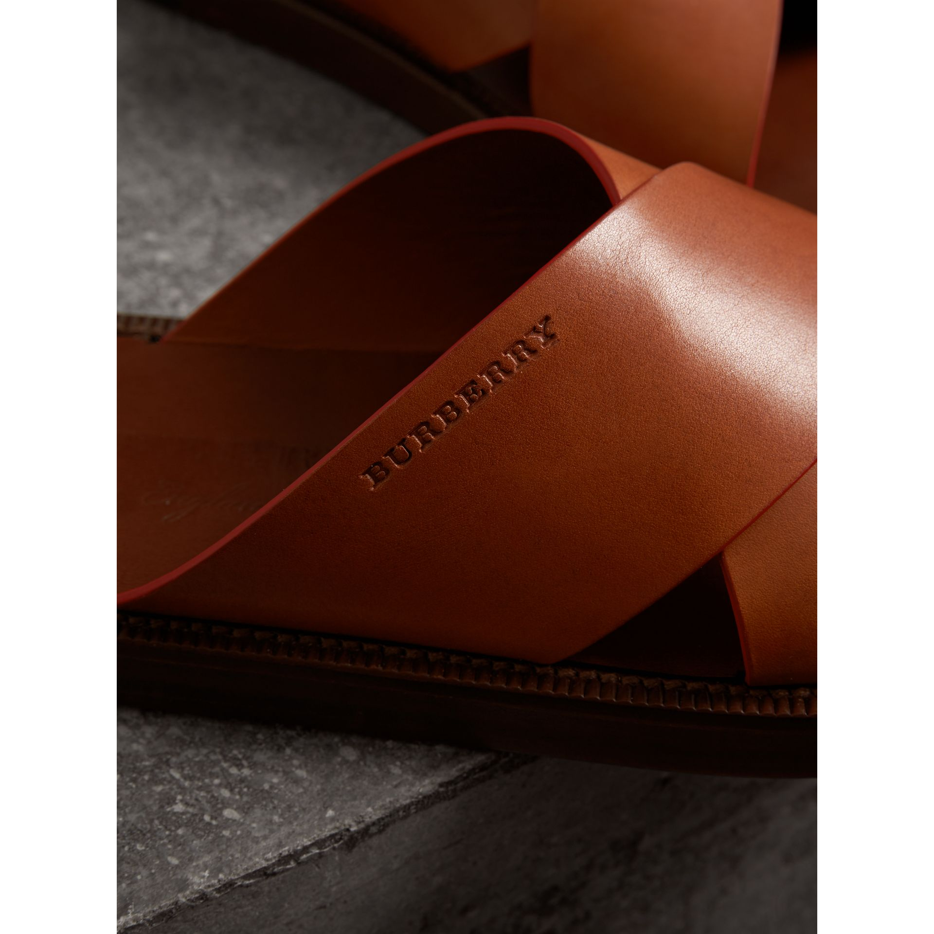 Contrast Detail Leather Sandals in Amber - Men | Burberry - gallery image 1