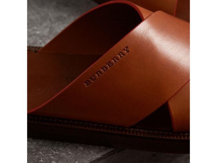 Contrast Detail Leather Sandals in Amber - Men | Burberry - cell image 1