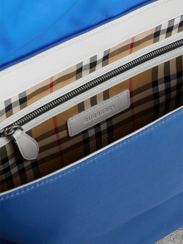 Large Tri-tone Nylon and Leather Messenger Bag in Deep Cerulean Blue - Men | Burberry - cell image 3