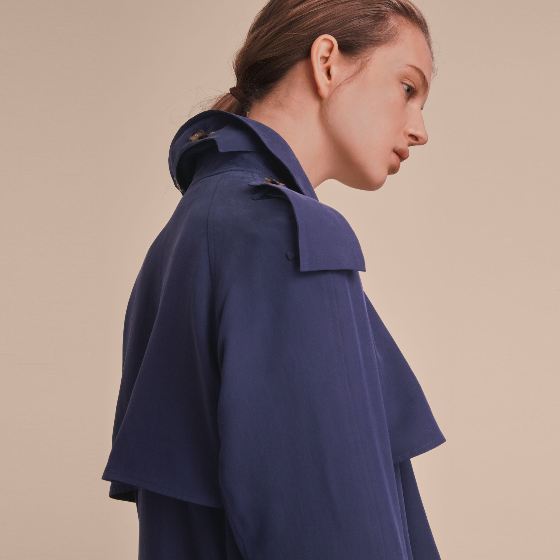 Silk Wrap Trench Coat Navy - gallery image 5
