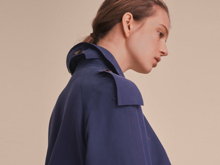 Silk Wrap Trench Coat Navy - cell image 4