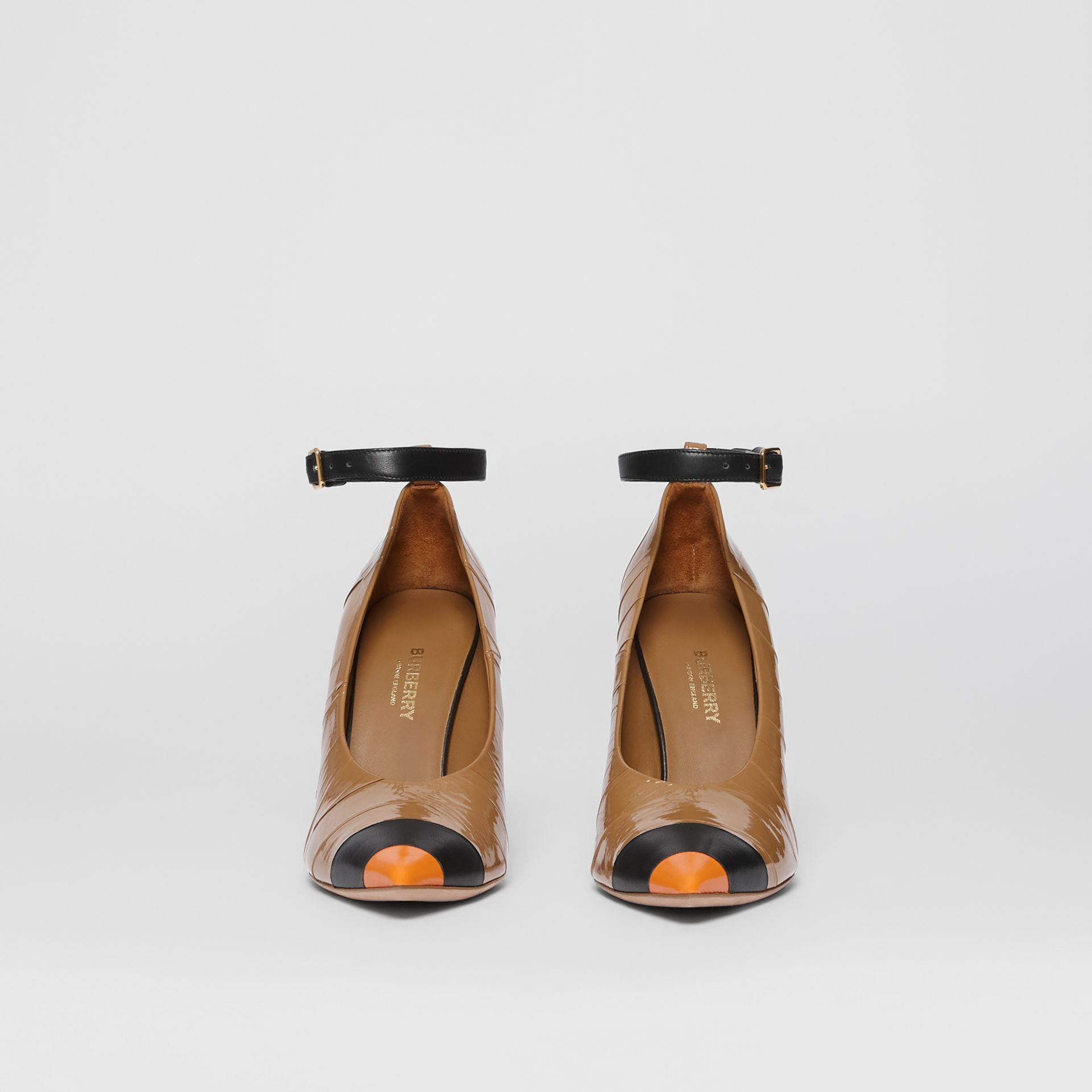 Tape Detail Leather Point-toe Pumps in Brown / Black - Women | Burberry - gallery image 3