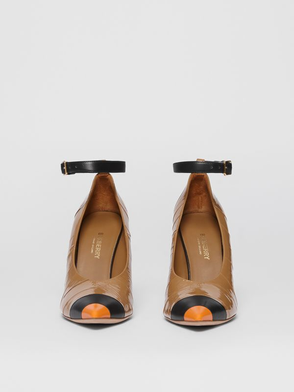 Tape Detail Leather Point-toe Pumps in Brown / Black - Women | Burberry - cell image 3
