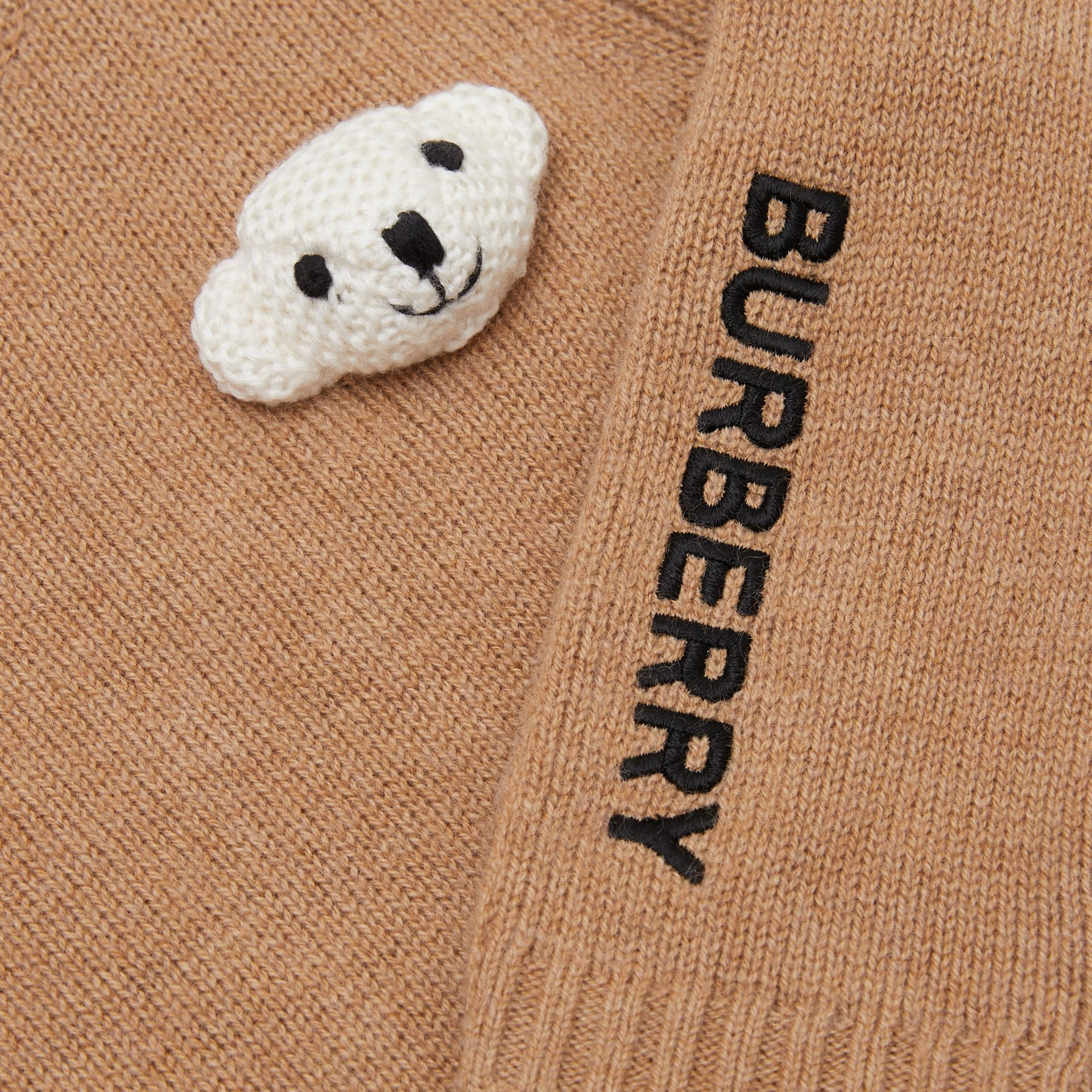 Thomas Bear Detail Wool Cashmere Sweater in Camel - Children | Burberry - gallery image 1