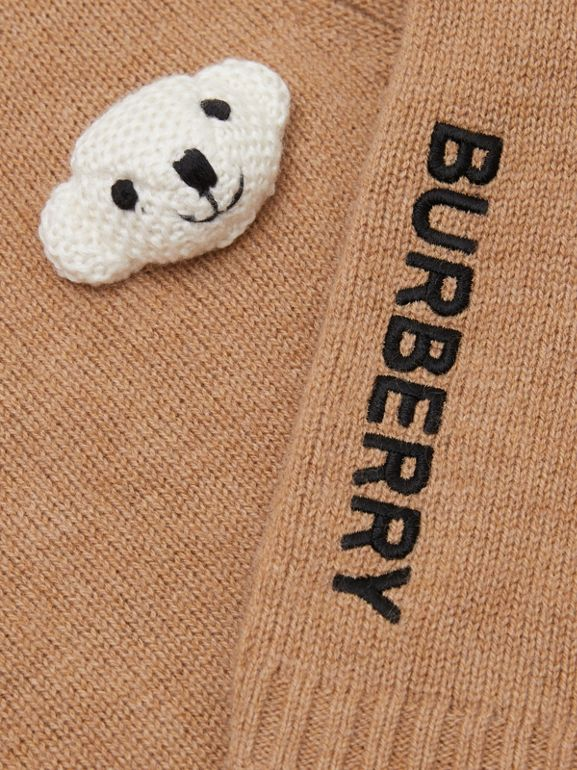 Thomas Bear Detail Wool Cashmere Sweater in Camel - Children | Burberry - cell image 1