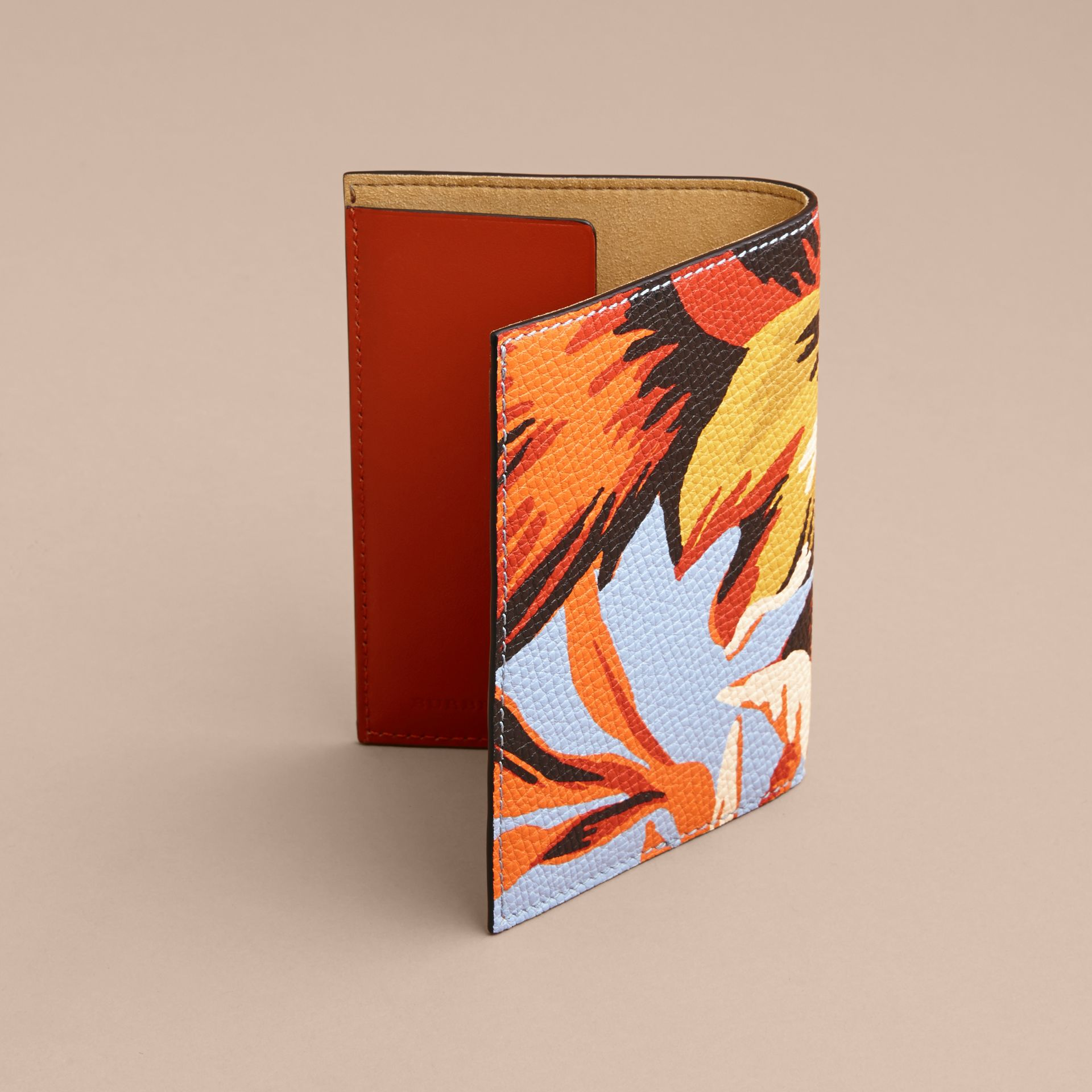 Peony Rose Print Leather Passport Cover in Pale Blue/vibrant Orange | Burberry - gallery image 3