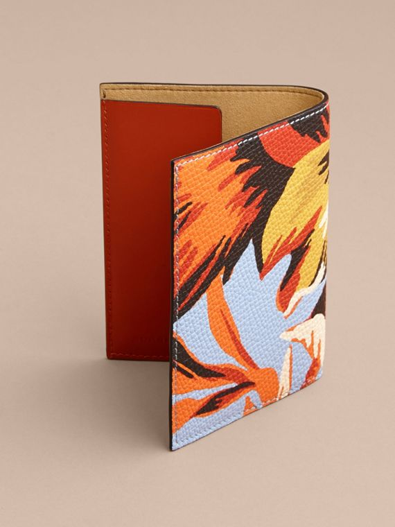 Peony Rose Print Leather Passport Cover in Pale Blue/vibrant Orange | Burberry - cell image 2