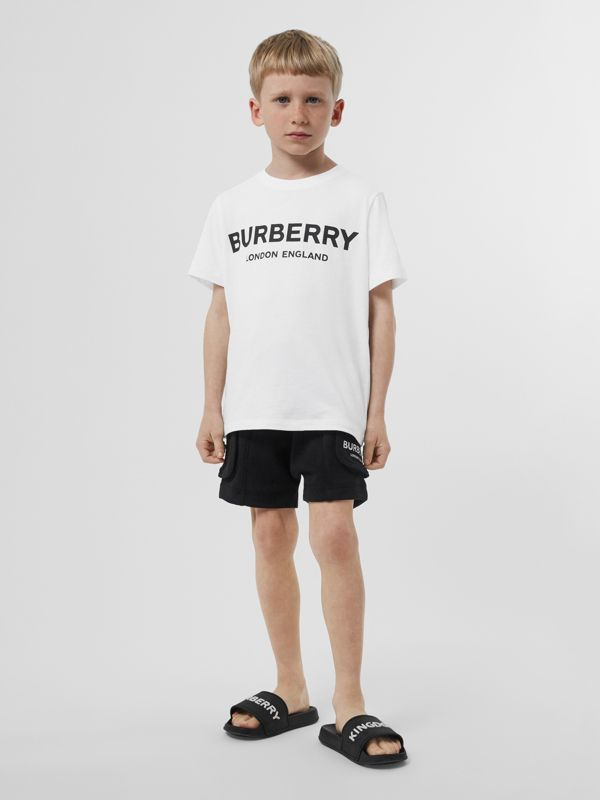 Logo Print Cotton T-shirt in White | Burberry - cell image 3